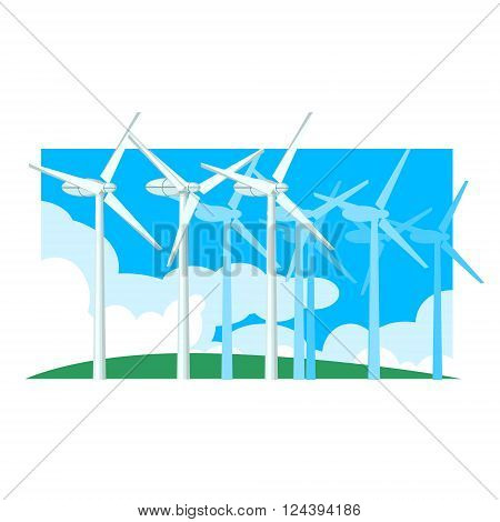 Alternative Energy Wind Power Flat Vector Illustration In Simplified Style