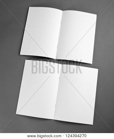 Blank catalog brochure magazines book mock up. Blank opened magazine on grey background.
