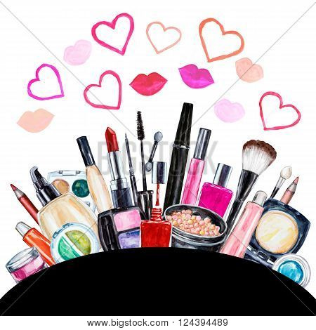 Set of various watercolor decorative cosmetic. Makeup products beauty items mascara lipstick foundation cream brushes eye shadow nail polish powder lip gloss. Hand drawn cosmetics