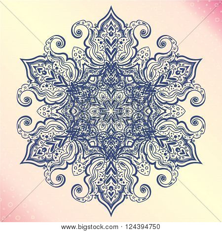 Mandala. Floral vintage round amulet. Indian Arabic Buddhist medallion. It can be used for tattoo prints on t-shirts design and ad restaurants wedding cards