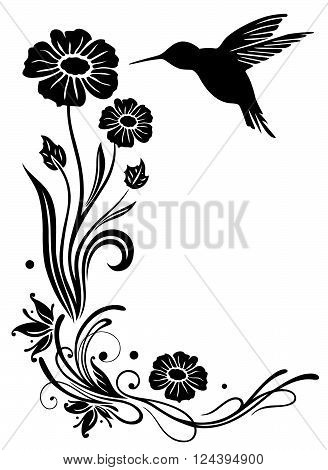 Abstract flowers with hummingbird, black bird silhouette.