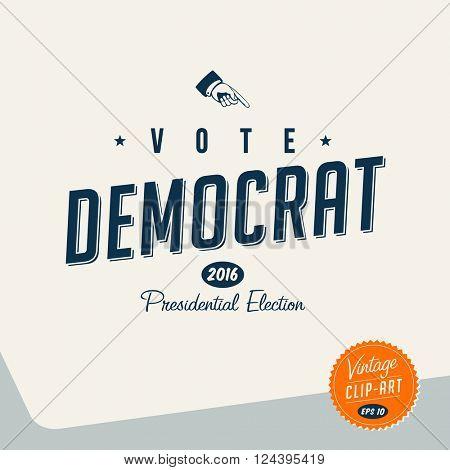 Vintage style Clip Art - Vote Democrat - Vector EPS10.
