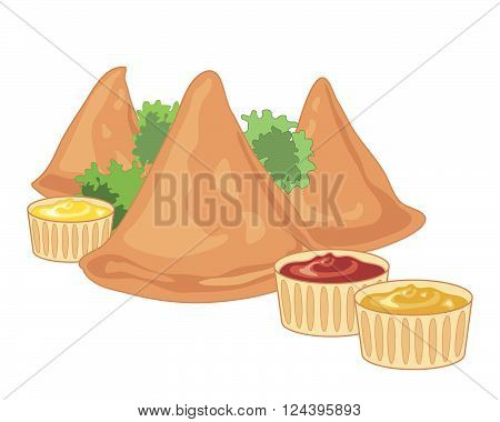 an illustration of three crispy samosas with parsley garnish and spicy dips on a white background