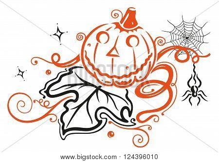 Colorful Halloween pumpkin with large leave and spider web.