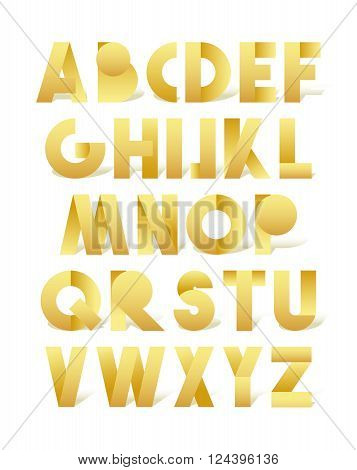 Retro font in gold. Golden alphabet. Letters for retro design directions. Vintage set of letters. Vintage font. Alphabet in retro style. Retro set of letters. 3D realistic retro font