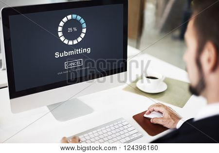 Submitting Online Internet Loading Progress Website Concept