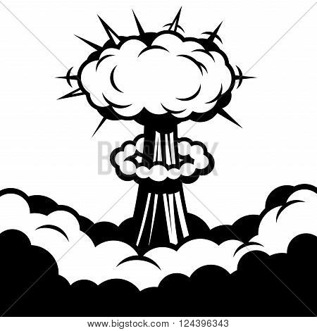 Comic Boom. Explosion on White Background. Vector