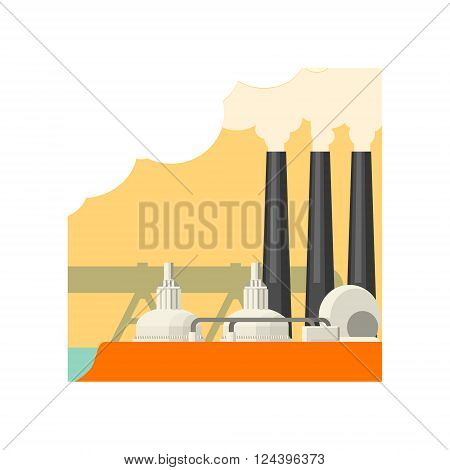 Industrial Building With Three Chimneys Flat Vector Illustration In Simplified Style