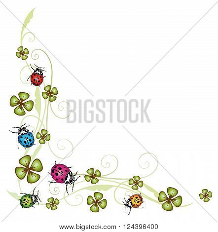 Clover tendril, Silvester decoration with colorful ladybugs.