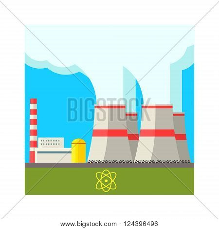 Atomic Power Station Flat Vector Illustration In Simplified Style
