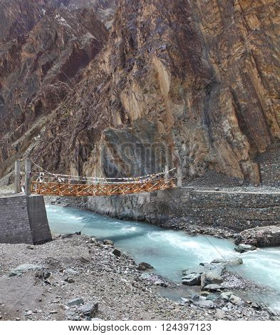 Wooden suspension bridge, Ladakh, Jammu & Kashmir, India,