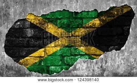 Flag of Jamaica, Jamaican Flag painted on brick wall