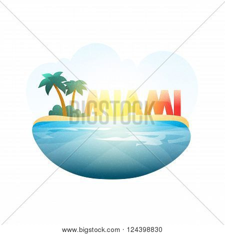 Island in sea. Miami beach with palm trees in ocean. Resort island. Beach on the coast. Advertising resort . Stylized city . Miami Beach .