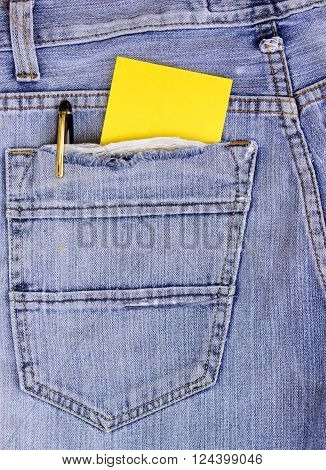 empty Note in jeans pocket, paper note