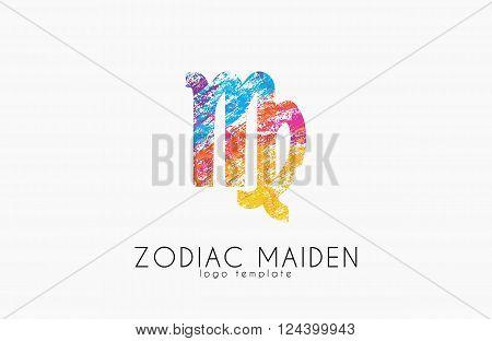 Zodiac maiden logo design. Maiden symbol logo. Creative logo