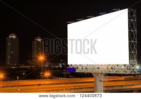 Blank Billboard At Twilight Time For Advertisement