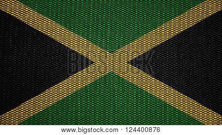 Flag of Jamaica, Jamaican Flag painted on stitch