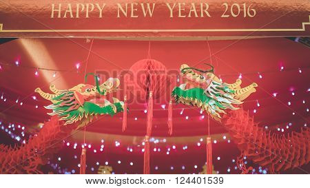 Celebrating the Chinese New Year, red dragon
