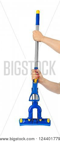 Mop in hands isolated on white background