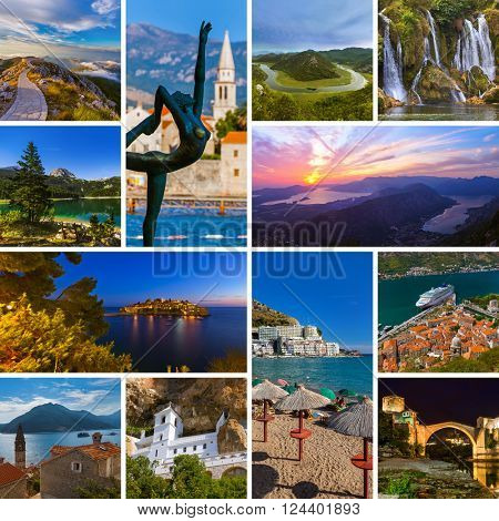 Collage of Montenegro travel images (my photos) - nature and architecture background