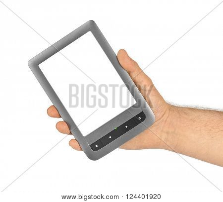 Hand with E-book reader isolated on white background