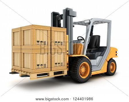Forklift truck and box (done in 3d)