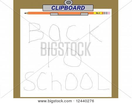 Back To School Clipboard and Pencil