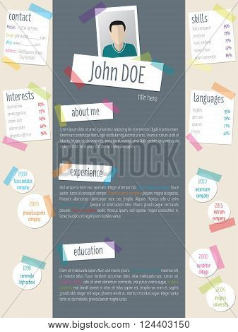 Modern resume cv curriculum vitae template design with color tapes and post its