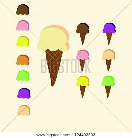 Set of 7 flavour colour of Ice-cream cone pastel colour with strawberry , chocolate,lemon sherbet,vanilla,orange, grape,mango on yellow background