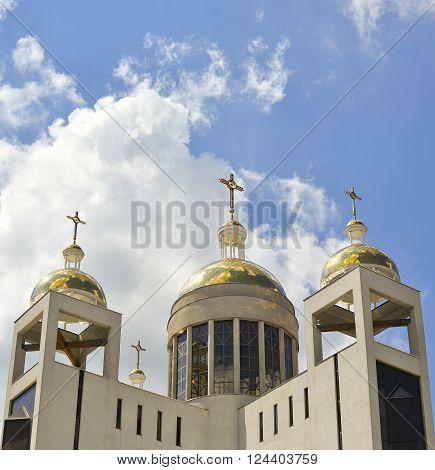 Kiev Ukraine: September, 2015 - Greek-Catholic Church Patriarchal Cathedral of the Resurrection Christ, left bank of the Dnieper, Kiev Ukraine
