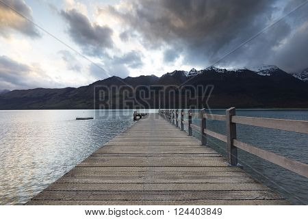 Sunset at Glenorchy wooden pier. This pier is a landmark in Glenorchy.