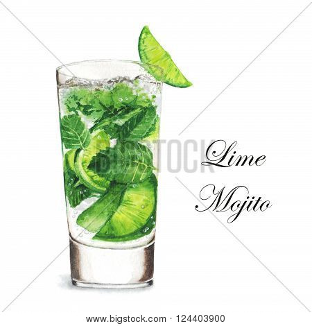 Hand drawn watercolor illustration of summer fresh cocktail Mojito. Isolated on the white background