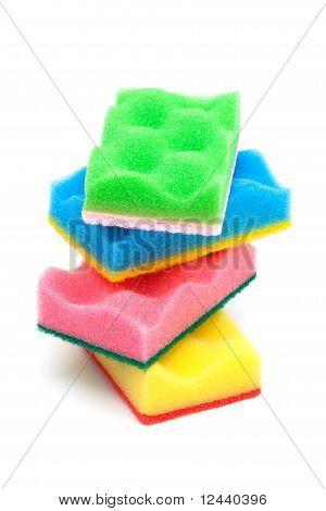 Esponja de roja, amarilla, verde y azul