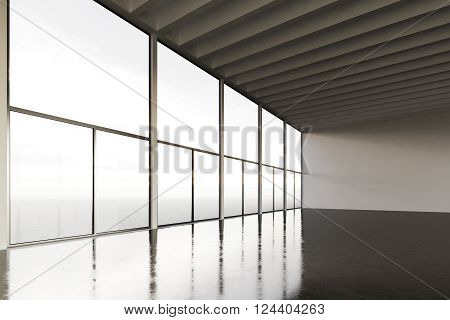 Photo of huge expo hangar in modern building. Expo interior loft style with concrete floor, panoramic windows.Abstract background, blank walls. Ready for business info.Horizontal mockup. 3D rendering