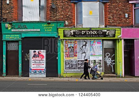 LIVERPOOL UK 3RD APRIL 2016 A street of derelict shops being sold by the council for £1 each