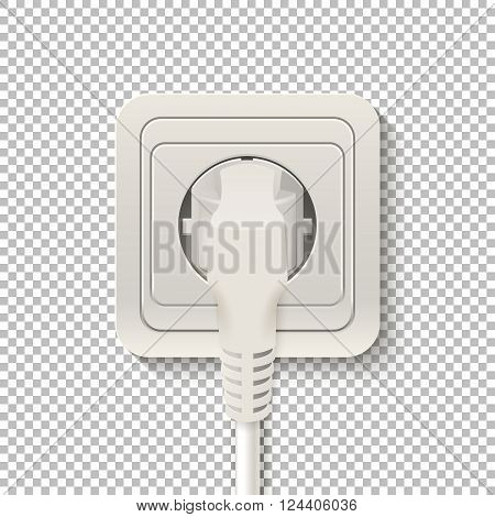 Realistic plastic power socket cable plugged isolated on a transparent background. Vector EPS10 illustration.