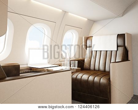interior of luxury private jet. Empty leather chair, modern generic design laptop table. Blank white screen ready for your business information. Horizontal mockup. 3D rendering