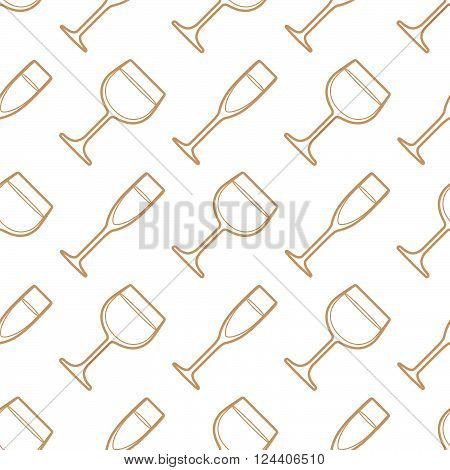 Outline Champagne Wine Glasses Seamless Pattern.
