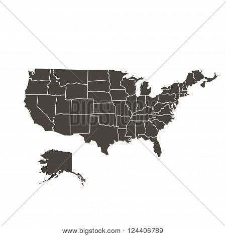 Contour Map Of The Usa On White Background Black Color