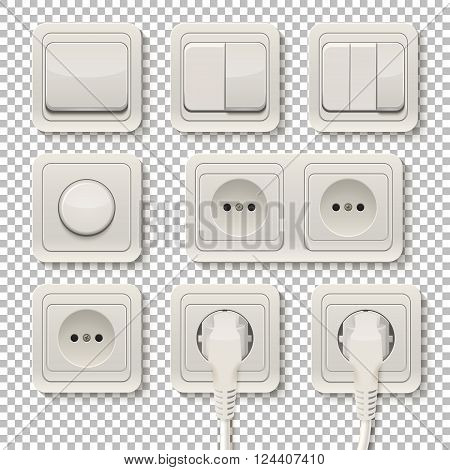 Set of realistic plastic power sockets and switches on a transparent background. Vector EPS10 illustration.