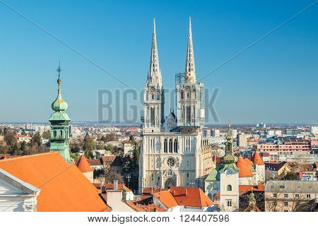 Zagreb cathedral and roof of St Catherine church from Upper town, panoramic view on center of Croatian capital