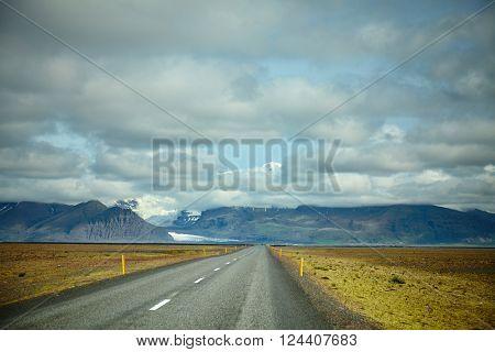 Iceland highest mountain peaking in the clouds, Hvannadalshnúkur