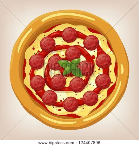 Pizza Pepperoni vector illustration. Pizza set. Cartoon style icon. Restaurant menu illustration.