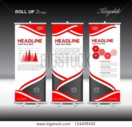 Red Roll Up Banner layout template and info graphics elements vector illustration