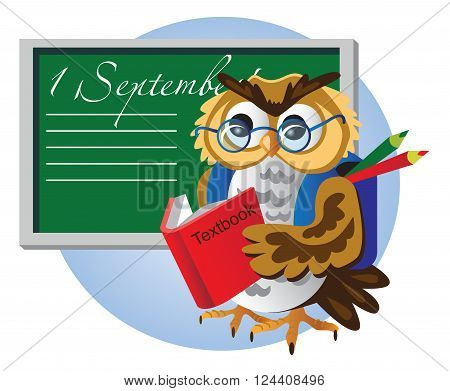 illustration of a blackboard and bird owl with glasses schoolboy with book and satchel