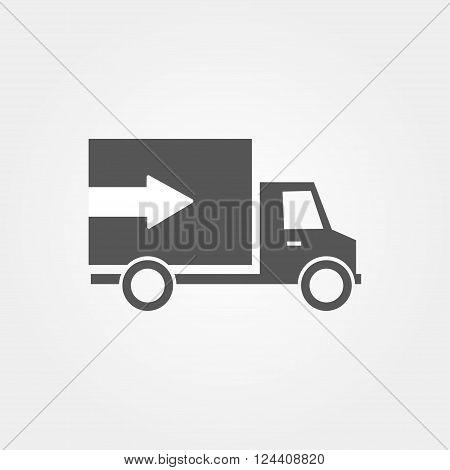 Icon Van With Arrow And Flat Design