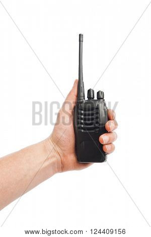 portable radio Walkie-talkie in hand, isolated on white