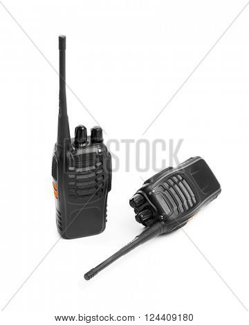 portable radios Walkie-talkie isolated on white