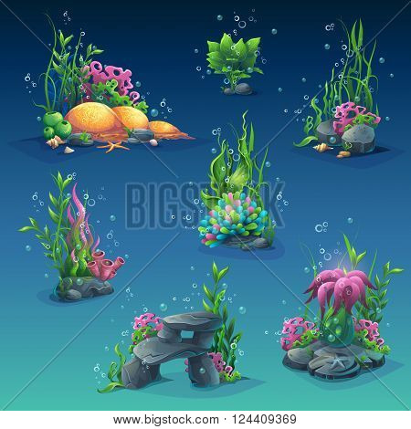 Set of underwater objects. Seaweeds bubbles stones. For web design print cards video games posters magazines newspapers.