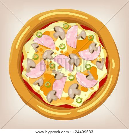 Ham and mushroom pizza vector illustration. Pizza set. Cartoon style icon. Restaurant menu illustration.